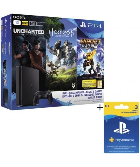 Nouvelle PS4 Slim 1To + Horizon Zero Dawn + Uncharted : The Lost Legacy + Ratchet & Clank + Qui es-tu ? + Abo 3 Mois