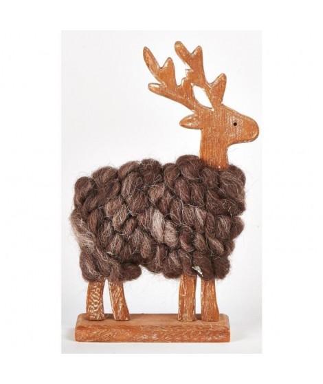 CHRISTMAS DREAM Objet décoratif en bois 13x4x21cm Renne avec laine