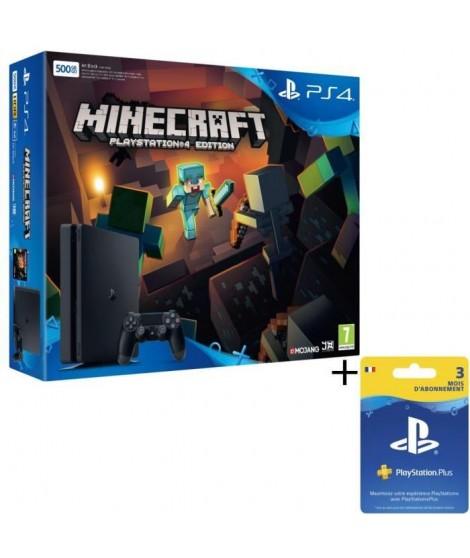 Nouvelle PS4 Slim Noire 500 Go + Minecraft + Abonnement PlayStation Plus 3 mois