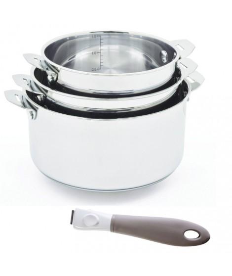 Lot 3 casseroles 16 à 20 cm + poignée You&Me - Aubecq