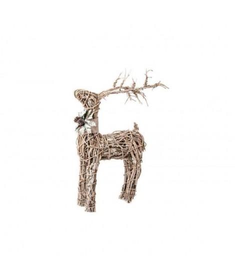 Figurine de Noël : Renne de Noël en rotin 44x19x74cm