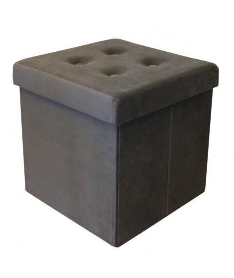 Pouf coffre pliable - 35 x 35 x 35 cm - Gris