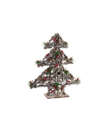 Sapin de Noël artificiel lumineux en bois 40x12x52 cm