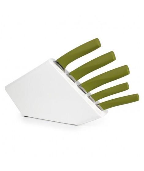 YONG Bloc a couteau + 5 couteaux Pro Knife - Inox - Manche plastique vert