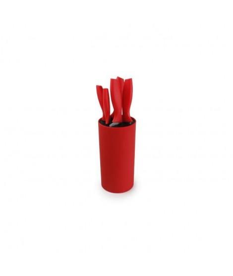 YONG Bloc a couteau rond + 5 couteaux cuisine - Inox - Manche plastique rouge