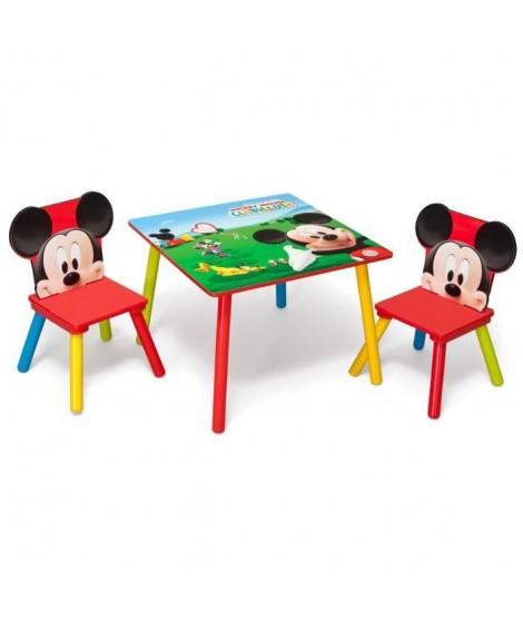 MICKEY - Ensemble Table et 2 Chaises Bois Enfant - Rouge et Multicolore