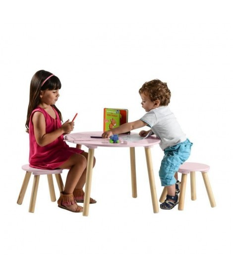 FAGOTIN Ensemble Table et Deux Tabourets Rose