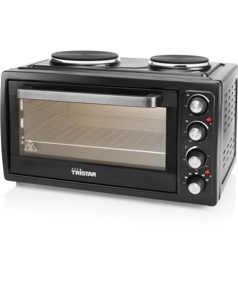 TRISTAR OV-1443-Mini four avec 2 plaques électrique sur le top-38 L-3100 W-Fonction chaleur tournante-Noir