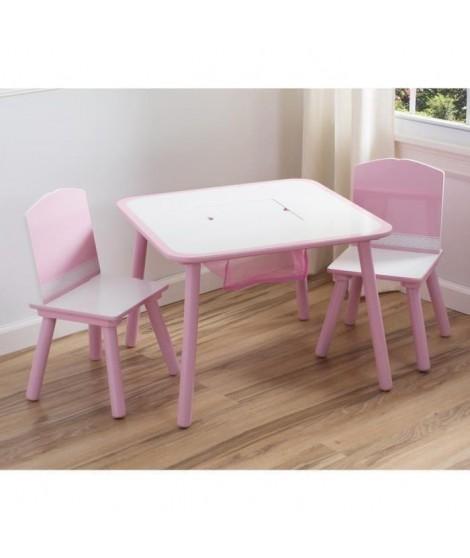 DELTAKIDS - Ensemble Table et 2 Chaises Bois Enfant - Rose et Blanc