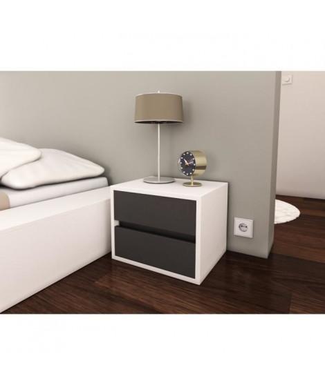 POP Chevet 40 cm - Blanc mat et gris mat