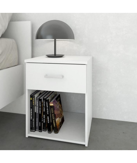 SPACE Table de nuit 1 tiroir 37 cm - Blanc