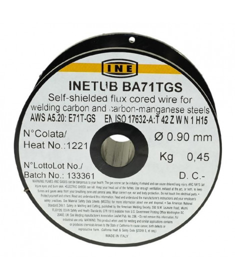 INE Bobine fil fourré sans gaz Ø 0,9mm