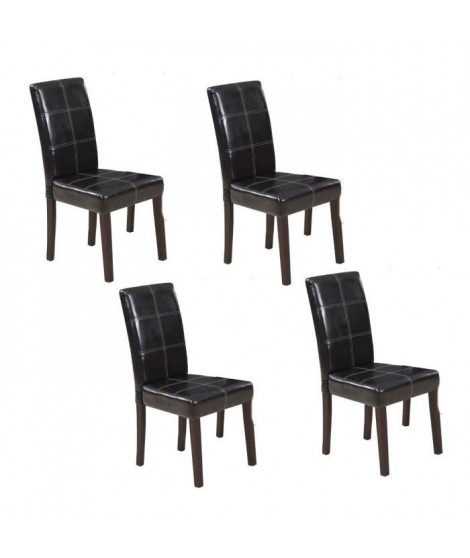 CROSS Lot de 4 chaises de salle a manger marron