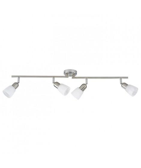 BRILLIANT Plafonnier barre a 4 lumieres Sofia hauteur 13 cm E14 40W acier, chrome et blanc