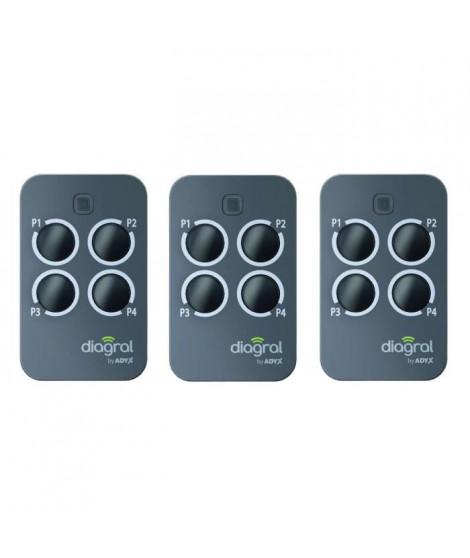 DIAGRAL BY ADYX Lot de 3 télécommandes 4 touches pour motorisations de portails, portes de garages et volets