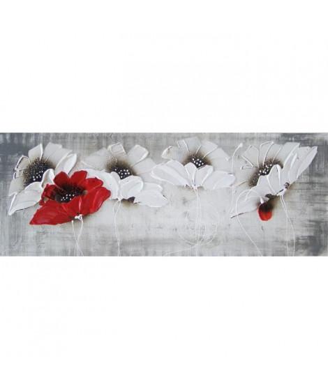 Tableau déco toile peinte Flowers 30x90 cm rouge et blanc