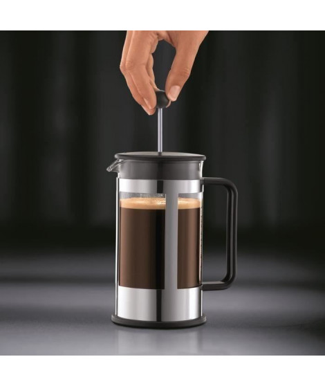 BODUM Cafetiere a piston KENYA acier chromé 8 tasses 1.0 l Noir