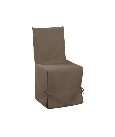 DOUCEUR d'INTERIEUR Housse de chaise unie a nouettes 50x50x50 cm Essentiel taupe