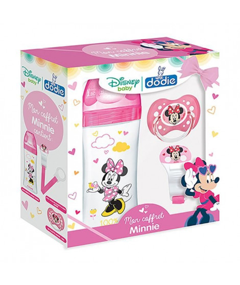 DODIE Coffret Minnie (1 biberon Initiation+ 330ml rose Minnie, 1 sucette anatomique +18M Minnie, 1 attache sucette Minnie)