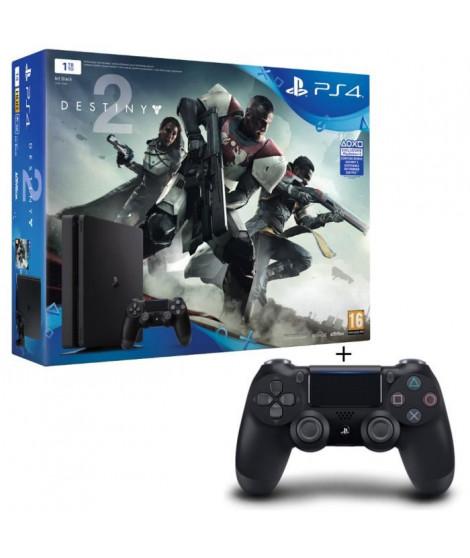 Nouvelle PS4 Slim Noire 1 To + Destiny 2 Jeu PS4 + 2eme Manette DualShock 4