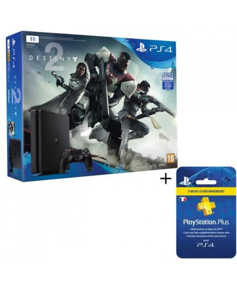Nouvelle PS4 Slim Noire 1 To + Destiny 2 Jeu PS4 + Abonnement 3 mois