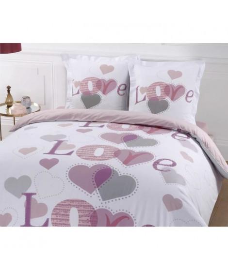 VISION Parure de couette Juliette 100% coton - 1 housse de couette 240x260 cm + 2 taies d'oreillers 65x65 cm blanc, rose et p…