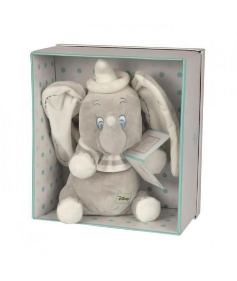 DISNEY - Peluche Dumbo assis avec boîte cadeau - 25cm - Gris