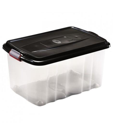 M-HOME BOX SPORTER Bac de rangement a roulettes + Couvercle 45L noir