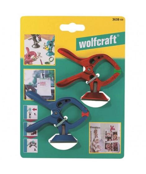 WOLFCRAFT - 2 Pinces microfix a ventouse