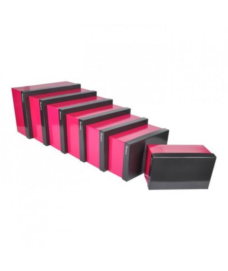 CODICO Set de 7 boîtes de rangement Classy 26-28-30-33-35-37-39 cm rose et gris