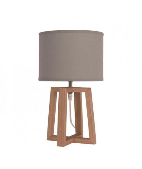 Lampe a poser/chevet Beker avec abat-jour hauteur 38 cm diametre 22 cm E14 40W naturel et taupe