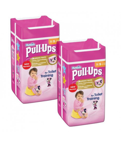 Lot de 2 HUGGIES Pull-Ups Girl Taille 4 8-15kg couches x16