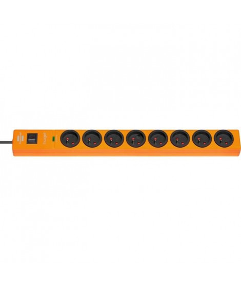 BRENNENSTUHL Bloc multiprise parasurtenseur Hugo socle rallonge 8 prises 2 m 19500A orange