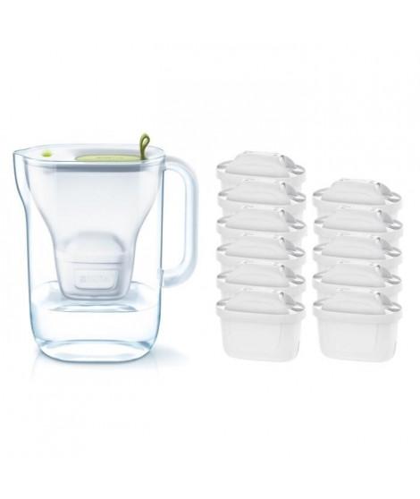 Pack BRITA Carafe filtrante STYLE Vert + 11 Cartouches de rechange