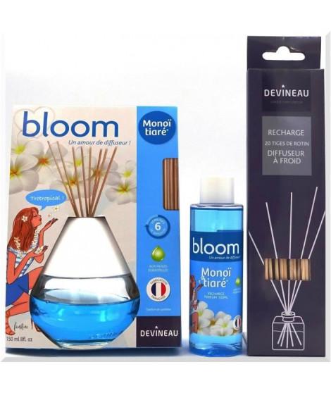 DEVINEAU Diffuseur de parfum a froid Bloom 150ml Monoi Tiare, recharge et 20 tiges