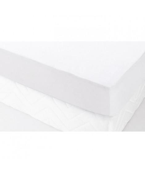 Protection literie housse molleton 100% coton sergé croisé 2/2 P300 80x190 cm blanc