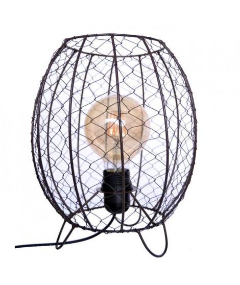WYRIA Lampe grillage esprit industriel H35cm idéal avec une ampoule vintage ? ampoule E27 60W max livre sans ampoule
