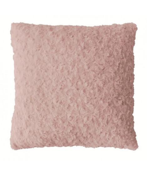 Coussin déco 40x40 fourrure synthétique rose