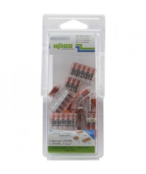 WAGO Pack de 20 Bornes de connexion universelle tous conducteurs - Type 221/2-3-5 entrées