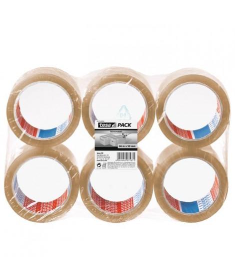TESA Ruban adhésif d'emballage carton - Lot de 6 - 66m x 50mm - Transparent