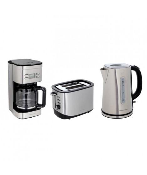 Pack CONTINENTAL EDISON : Cafetiere filtre programmable CF12TIX + Bouilloire B17IX + Grille-pain GP2FIX - Inox