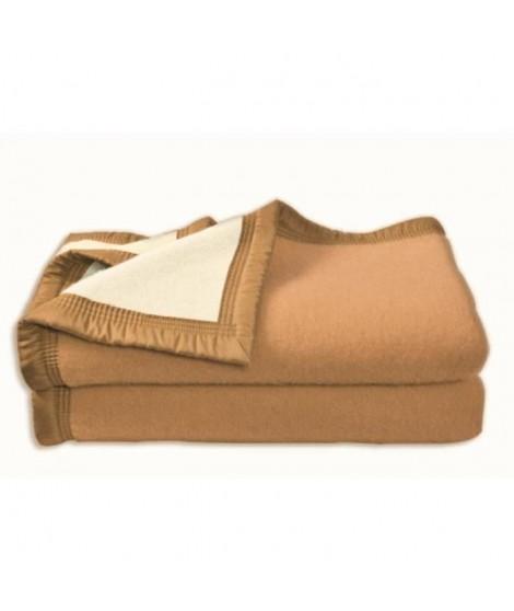 Couverture Aubisque en laine woolmark 220x240 cm biche et naturelle