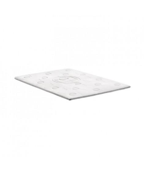 MEMO Surmatelas 140x190 cm - Mémoire de forme - 40 kg/m3 - Blanc et gris - 2 personnes