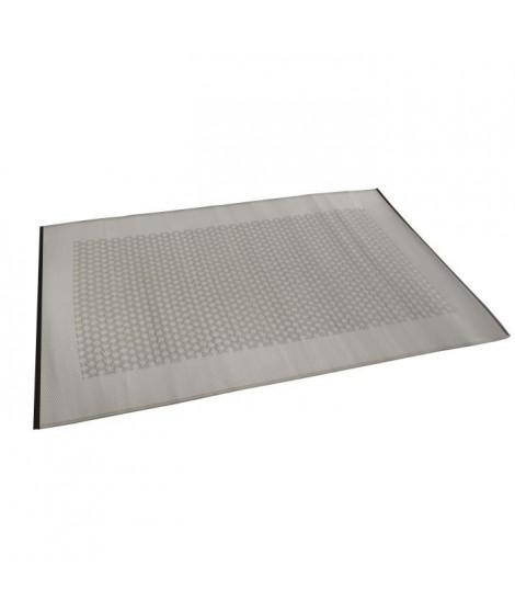 Tapis d'extérieur Roma - En polypropylene recyclé - 120 x 180 cm - Gris et blanc