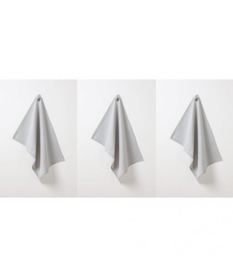 TODAY Lot de 3 torchons 100% coton 50x70cm zinc