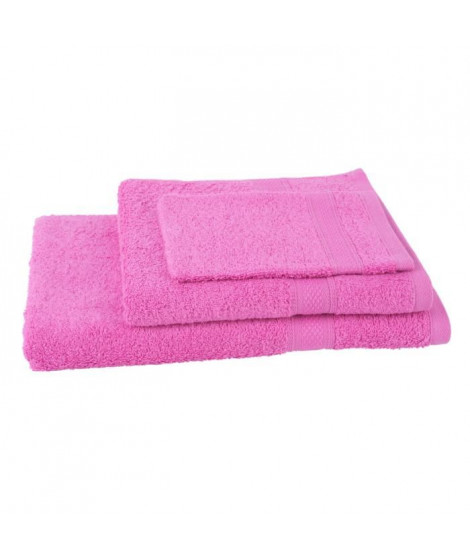 JULES CLARYSSE Lot de 1 serviette + 1 drap de bain + 1 gant de toilette Élégance - Rose
