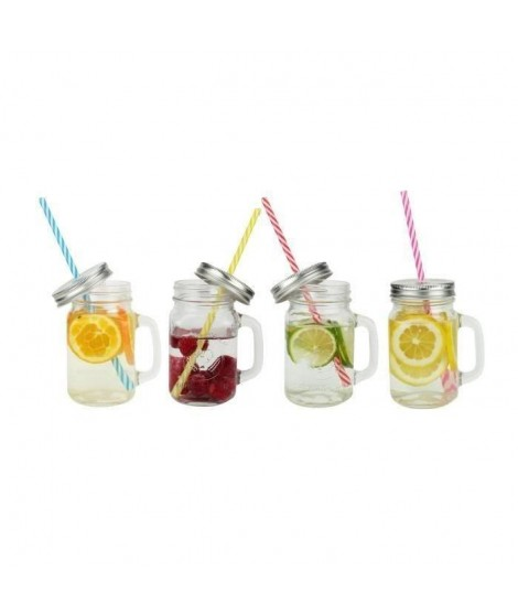 ARD'TIME Lot de 4 bocaux drinking jars en verre avec anse 450 ml