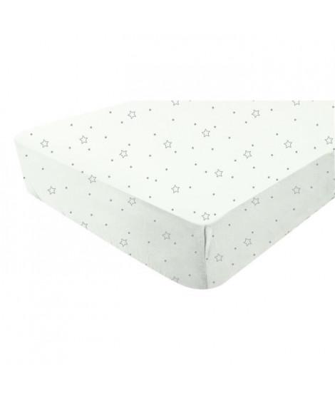 DOUX NID Drap-housse blanc - imprimé Etoiles grises 60x120 cm