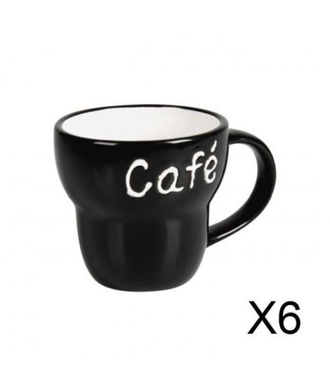 """Lot de 6 Mugs céramique évasé """"Café"""" noir"""