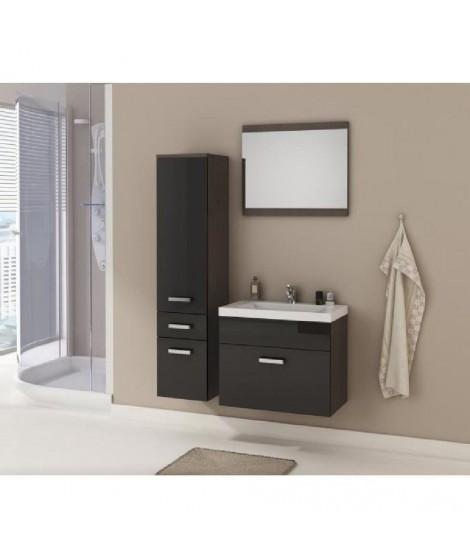 ALIDA Salle de bain complete laqué noir/wengé